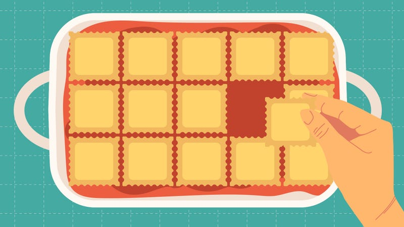 Illustration for article titled If you can shingle ravioli, you can make lazy lasagna