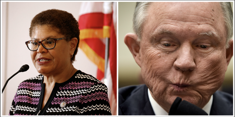 Rep. Karen Bass (Paul Morigi/Getty Images); Attorney General Jeff Sessions (Bill O'Leary/the Washington Post via Getty Images)