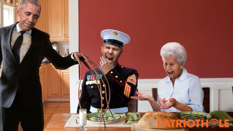 President Obama dipping his fingers into the soup of a Marine and an old woman.