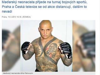 Illustration for article titled Akkora a tiltakozás, hogy elmarad a Hitler-tetkós magyar náci sportoló meccse Prágában