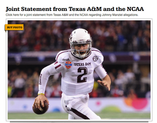 Illustration for article titled A&M Website Tries To Sell Manziel Photos While Announcing Suspension