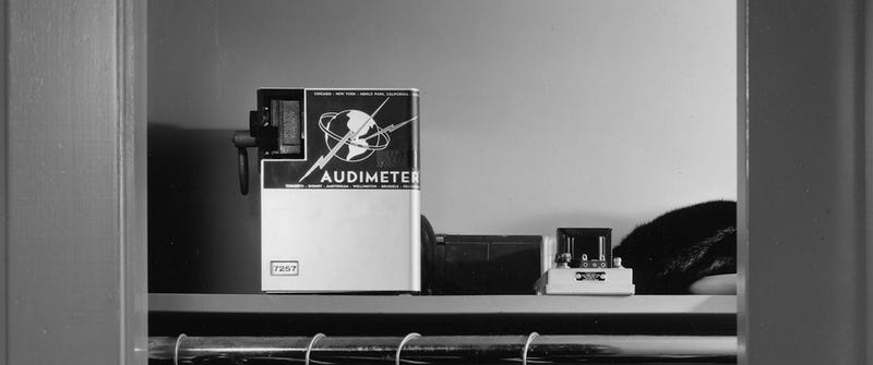 A Hunter model Audimeter sits in a home closet to measure the radio stations that a family is listening to nearby
