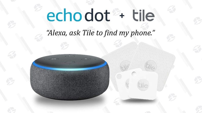 Echo Dot + Four Tile Trackers   $50   Amazon