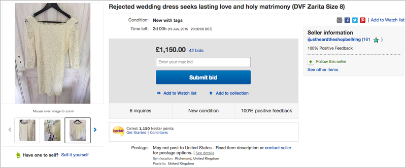 Illustration for article titled Jilted Bride's 'Rejected' Wedding Dress Is the Saddest Thing on eBay