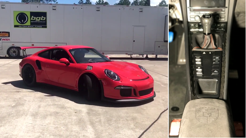 Yes, that stick is in this car. Screencap via John Tecce (left); photo via Rob Janev (right)
