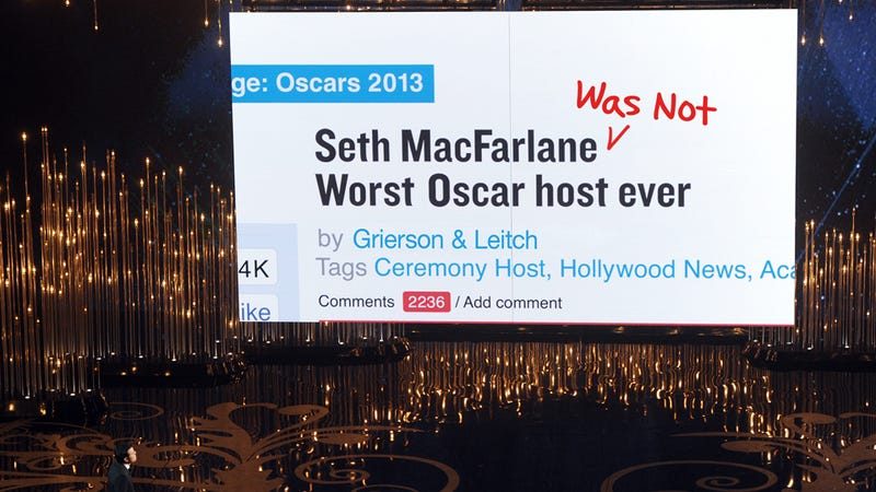 Illustration for article titled Seth MacFarlane Wasn't The Worst Oscar Host Ever: In Defense Of A Boob