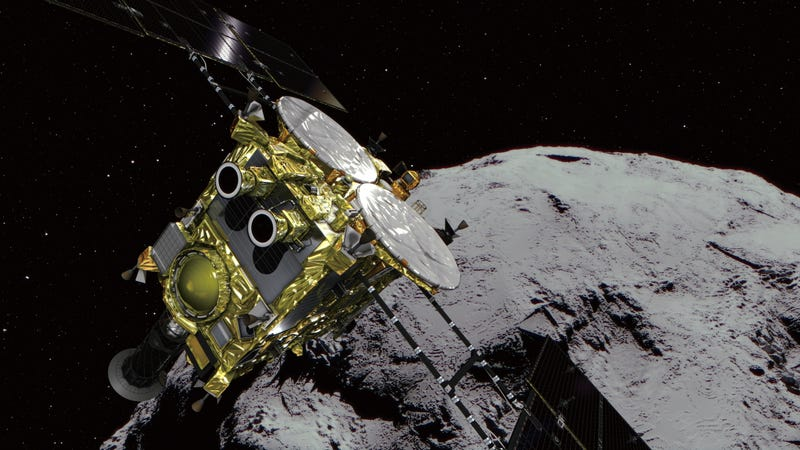 This illustration provided by the Japan Aerospace Exploration Agency (JAXA) shows an asteroid and Hayabusa2.