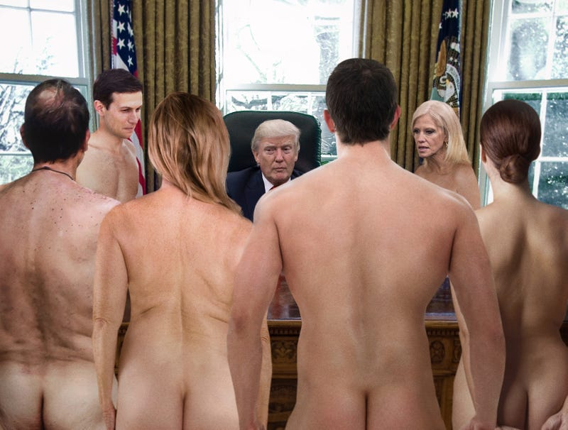 Illustration for article titled Nude Aides Huddled Around Trump Assure Him No One Wearing Wire
