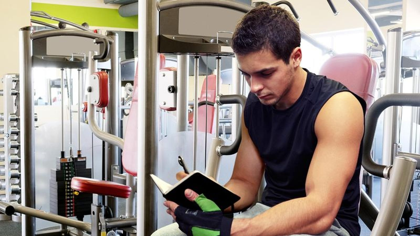 Guy At Gym Has Precious Little Diary To Keep Track Of All His Exercises