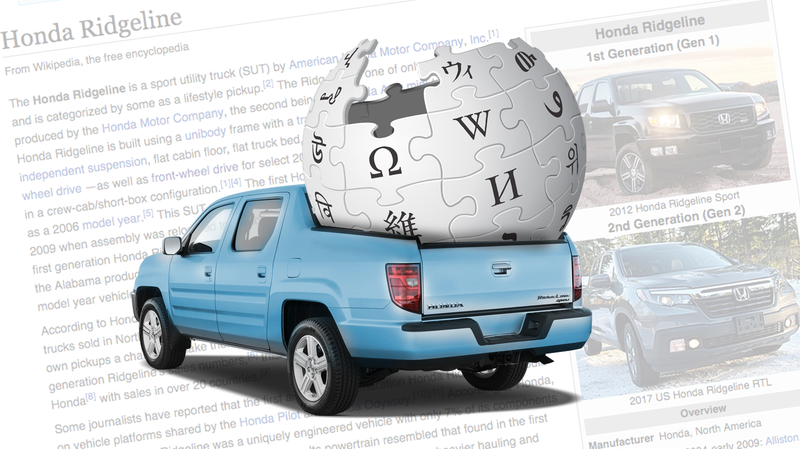 Illustration for article titled The Story Behind The Honda Ridgeline's Wildly, Unusually Detailed Wikipedia Page