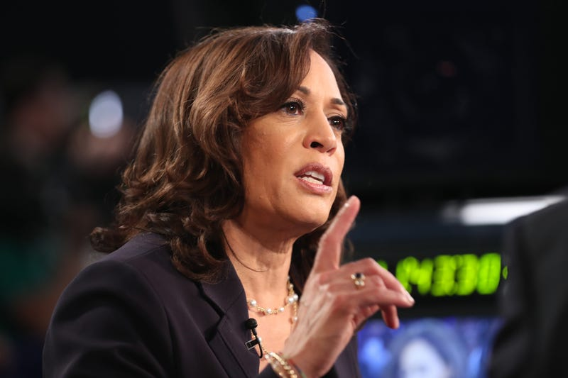Democratic presidential candidate Sen. Kamala Harris (D-CA) speaks during a television interview after the second night of the first Democratic presidential debate on June 27, 2019, in Miami.