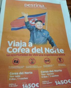 """Illustration for article titled On Spanish Newspapers: """"Travel To North Korea. The Opportunity To Live A Unique Experience""""."""