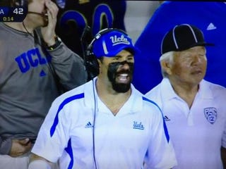 Illustration for article titled Jim Mora Told His Assistants To Put Some Eyeblack On And They Went Way Overboard