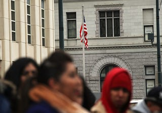 Immigrants to the United States after a Deferred Action for Childhood Arrivals hearing at a Brooklyn, N.Y., court on Jan. 30, 2018. A federal judge heard arguments on a motion for a preliminary injunction to block President Donald Trump's attempt to end DACA.