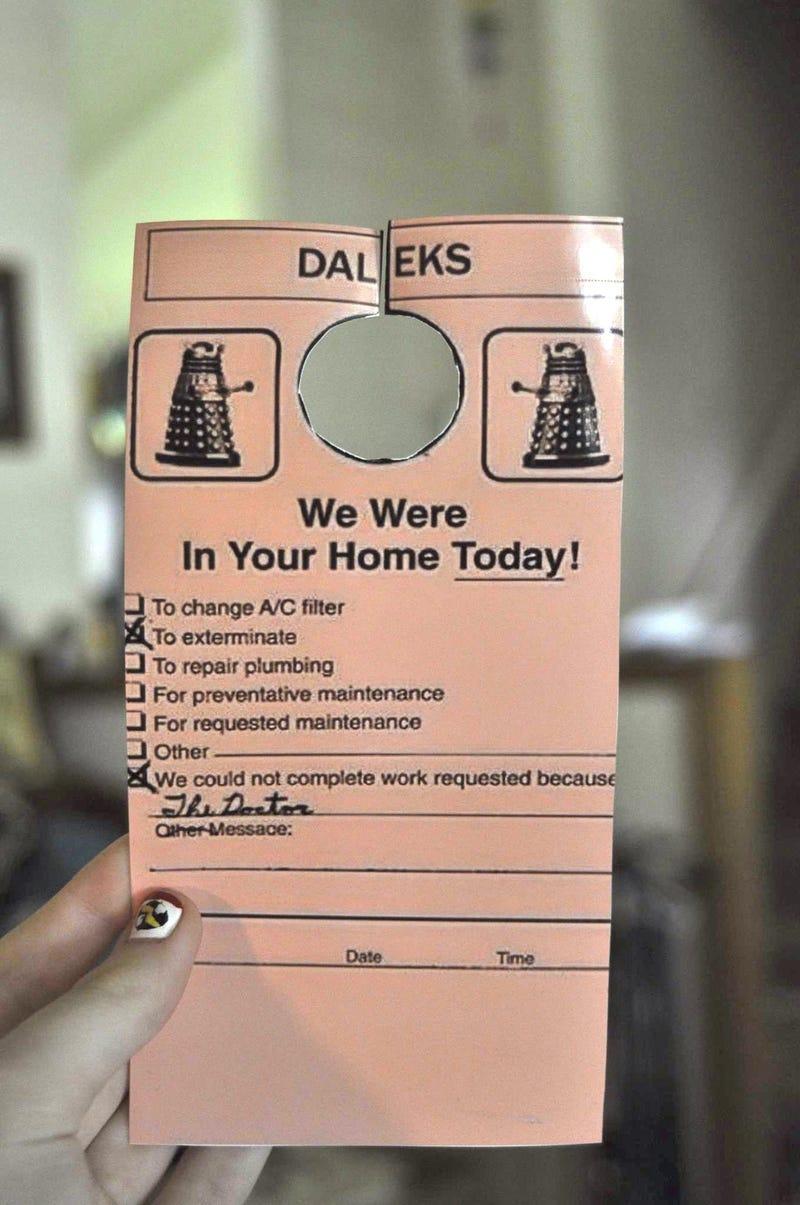 Illustration for article titled Some polite Daleks left this on somebody's door
