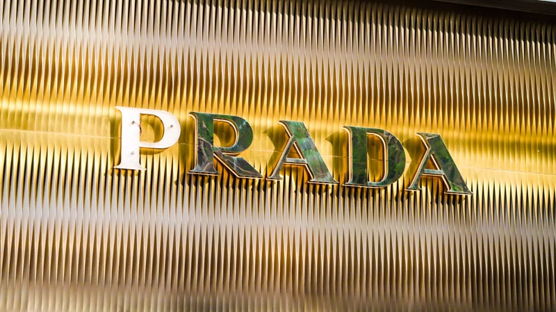 Logo of PRADA is pictured at Central, Hong Kong. PRADA is an Italian luxury fashion house, specializing in leather handbags, travel accessories, shoes. Alvin Chan/SOPA Images/LightRocket via Getty Images
