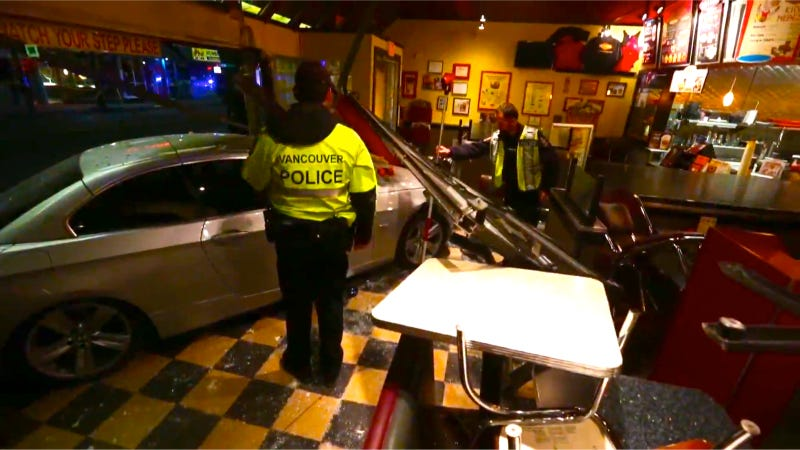 Illustration for article titled BMW Crashes Into Fatburger, Injuring Four Cops In... Canada?