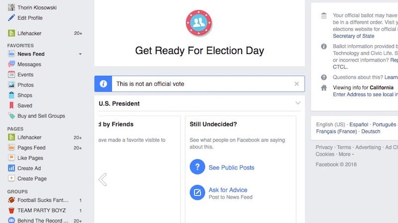 Illustration for article titled Facebook's Voting Guide Dishes Out a Personalized Voting Plan to Help You Learn About Your Ballot