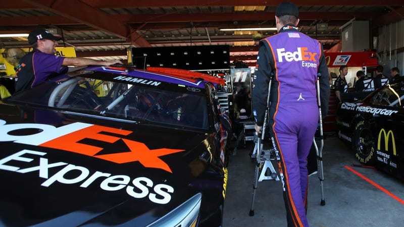 Illustration for article titled NASCAR's Denny Hamlin Tears ACL, Will Race Anyway