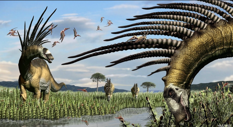 Artist's impression of Bajadasaurus pronuspinax, a newly discovered sauropod dinosaur from South America.