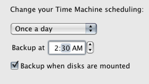 scheduling time machine backups
