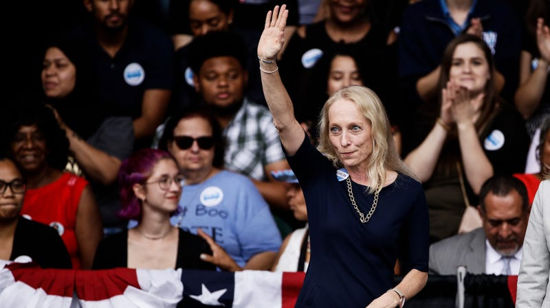 Democratic congressional candidate Mary Gay Scanlon during a campaign rally in Philadelphia, Friday, Sept. 21, 2018.