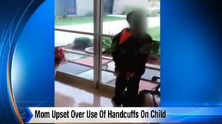 Chrystal McCadden's son, Caden (shown above), was placed in handcuffs by a police officer who was dispatched to the school following a report that a student was a threat to himself and other students.WILX Screenshot
