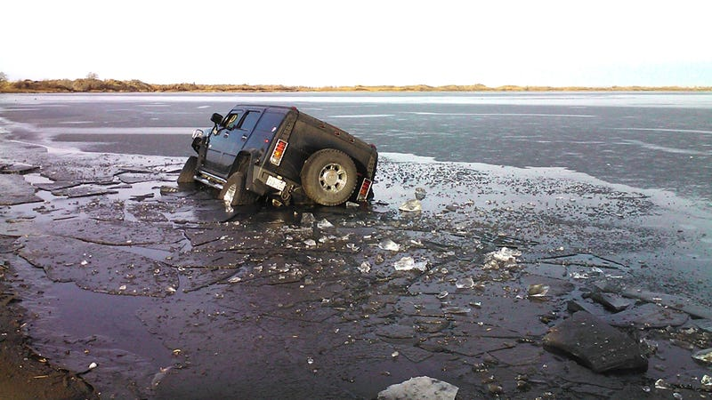 Illustration for article titled Why Do Hummer Drivers Keep Crashing Into Icy Lakes?