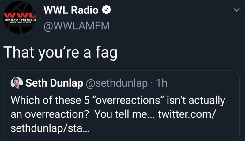 "Illustration for article titled New Orleans Radio Station Posts, Deletes Tweet Calling Its Own Sports Talk Host ""A Fag"""