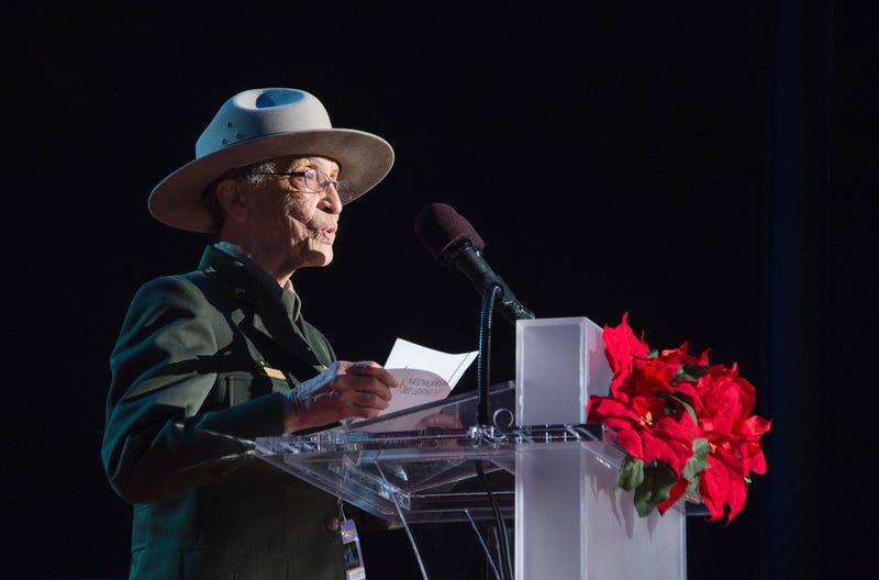 Betty Reid Soskin, who at 94 is the oldest National Park Service ranger in the United States, speaking on the Ellipse of the National Mall on Dec. 3, 2015, in Washington, D.C., for the national Christmas Tree lightingJIM WATSON/AFP/Getty Images