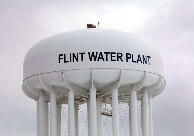 The Flint Water Plant tower in Michigan is shown Jan. 13, 2016.Bill Pugliano/Getty Images