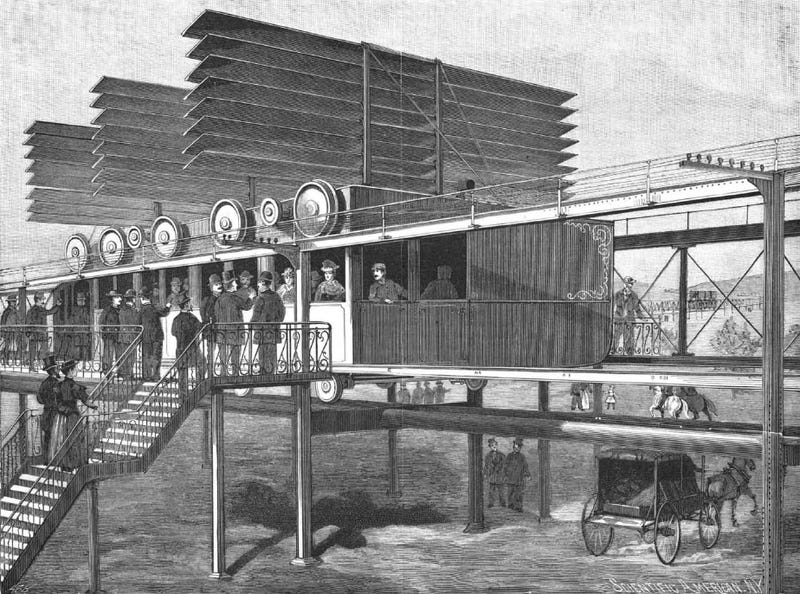 Illustration of an aero-train from the May 5, 1894 issue of Scientific American (Archive.org)