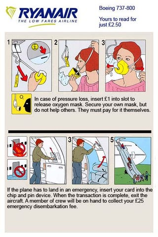 Illustration for article titled Ryanair's New Emergency Instructions Could Be Real One Day