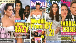 Illustration for article titled This Week in Tabloids: Faked Pix of Kim Squeezing Into Wedding Dress
