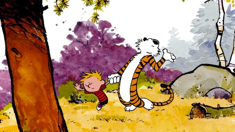 Illustration for article titled Test your commitment to Bill Watterson's integrity with an animated clip of Calvin and Hobbes dancing
