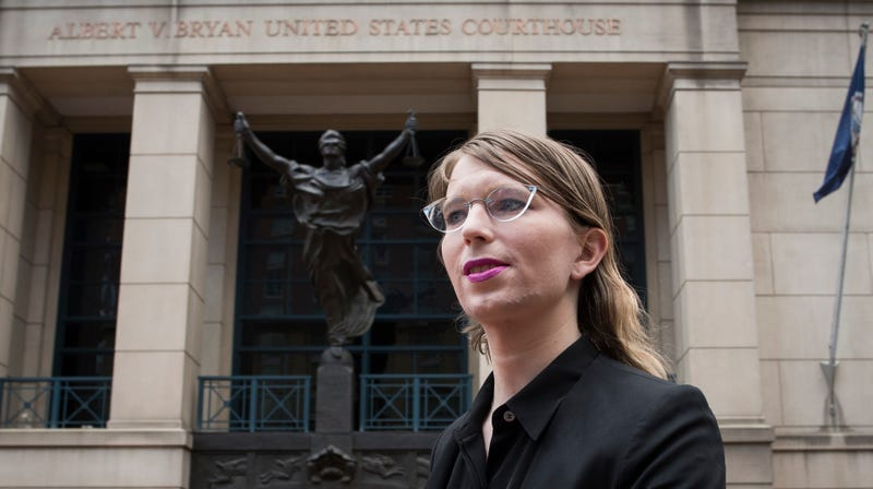 Former Army intelligence analyst Chelsea Manning speaks with reporters, after arriving at the federal courthouse in Alexandria, Va., Thursday, May 16, 2019.
