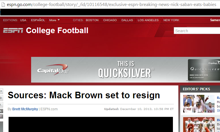 No, ESPN Didn't Accidentally Leak Nick Saban As The New