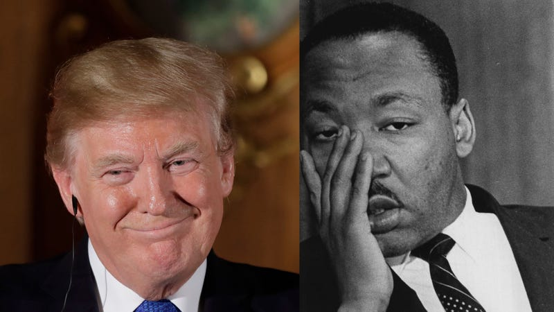 President Donald Trump at a joint press conference at Akasaka Palace in Tokyo on Nov. 6, 2017 (Kiyoshi Ota/Getty Images); Martin Luther King Jr. on May 18, 1967 (Duane Howell/Getty Images)