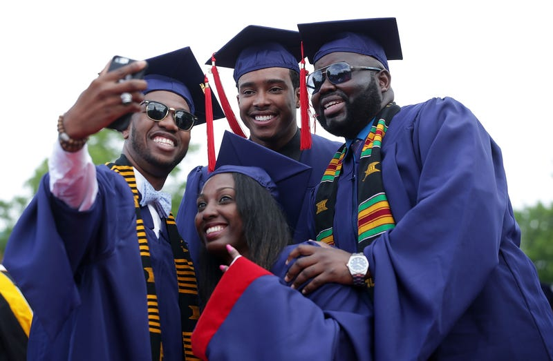 Members of the Class of 2016 take a selfie during Howard University's commencement ceremony May 7, 2016.