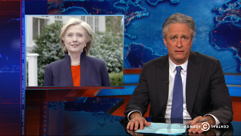Illustration for article titled Jon Stewart Is Not Impressed With Clinton's Campaign Announcement