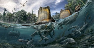 Illustration for article titled A dinosaur blown up in WW2 might have been semi-aquatic