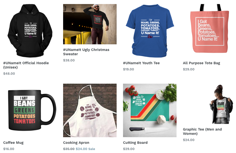 Some products sold by Shirley Caesar's #UNameIt Challenge websiteUnameitshirley.com