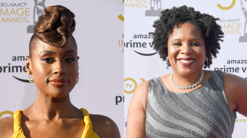 (L-R): Issa Rae and Tayari Jones attend the 50th NAACP Image Awards on March 30, 2019 in Hollywood, California.