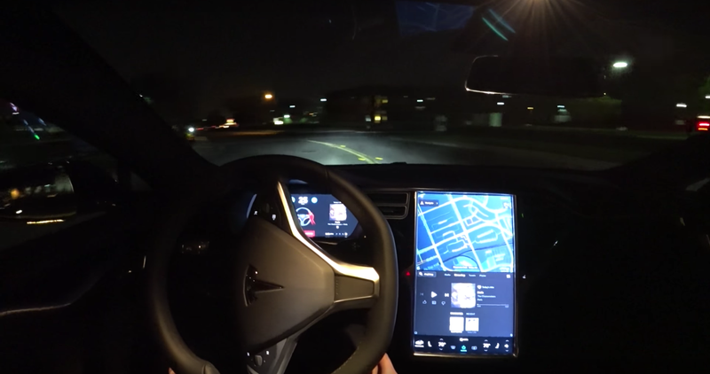 A screenshot of Autopilot 2.0 steering an owner into a ditch, via Scott S on YouTube