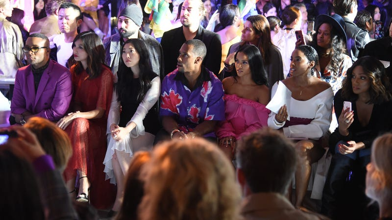 (L-R) Stylist Law Roach, Gemma Chan, Awkwafina, Victor Cruz, Karrueche Tran, Kelly Rowland and Tiffany Haddish attend the Prabal Gurung - Front Row during New York Fashion Week: The Shows at Gallery I at Spring Studios on September 9, 2018 in New York City.