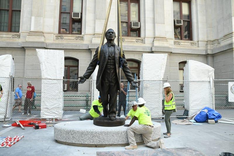 A new statue honoring civil rights activist Octavius Catto is installed at Philadelphia's City Hall (Kelly Burkhardt)