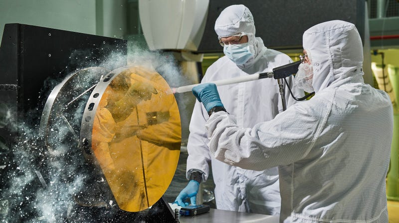 Engineers clean one of JWST's mirrors