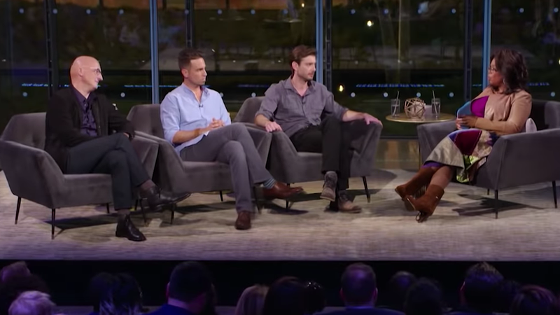 (L-R): Dan Reed, Wade Robson, James Safechuck, and Oprah Winfrey appear on After Neverland.