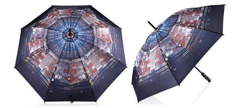 Illustration for article titled This Large Hadron Collider Umbrella Keeps You Dry With Science