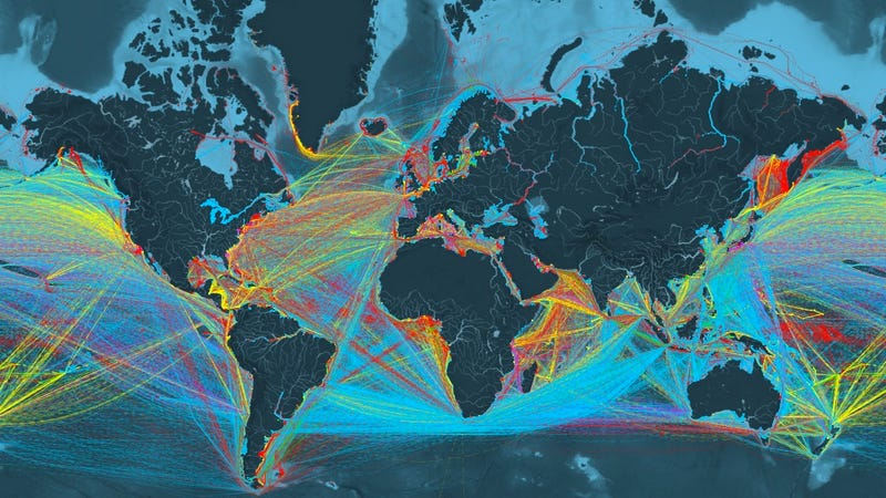 Illustration for article titled Este alucinante mapa interactivo sigue las rutas de todos los buques de carga del planeta